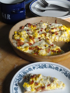 Breakfast Pizza! Easy, filling, and can be made ahead!