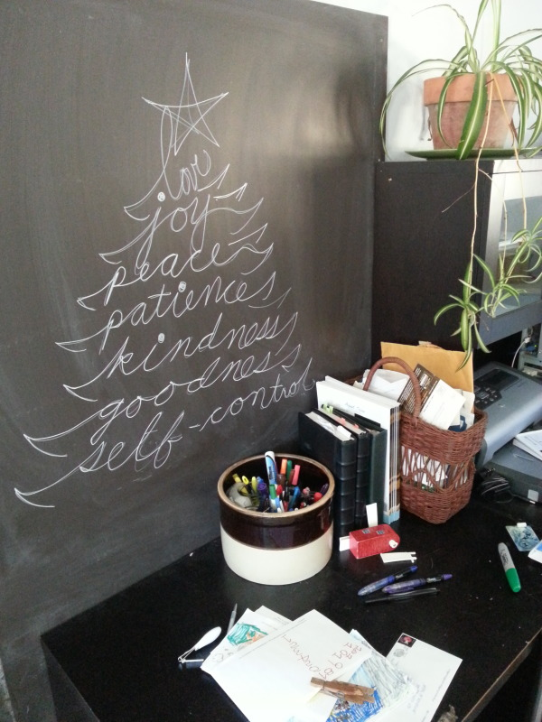 I love how the chalk pen writing looks on this chalkboard