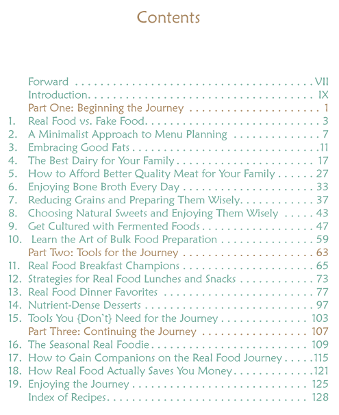 Real Food Journey Contents